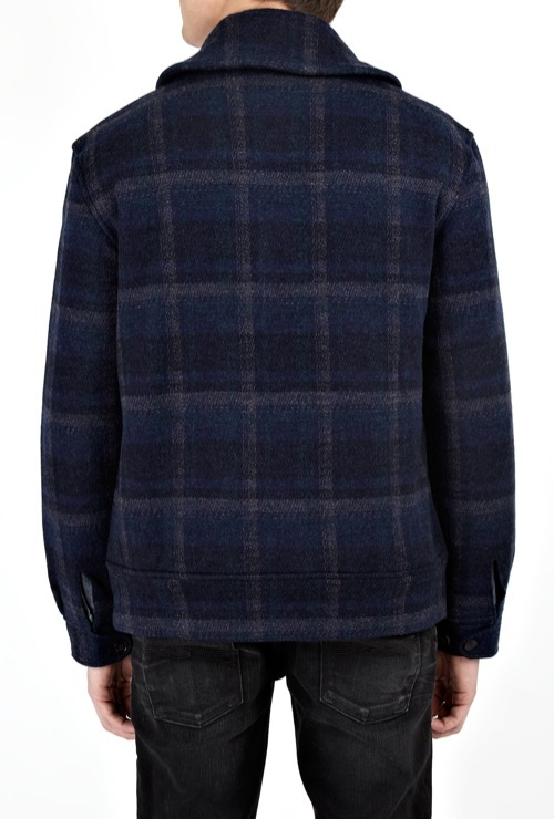 Polo Ralph Lauren | Navy Knit Plaid Shawl Bomber
