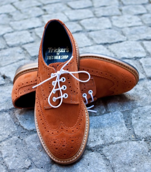 Tricker's fo' Très Bien Shop | Bourton Copper Suede Brogues