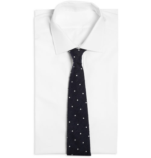 Drake's London Shantung Silk Polka Dot Tie