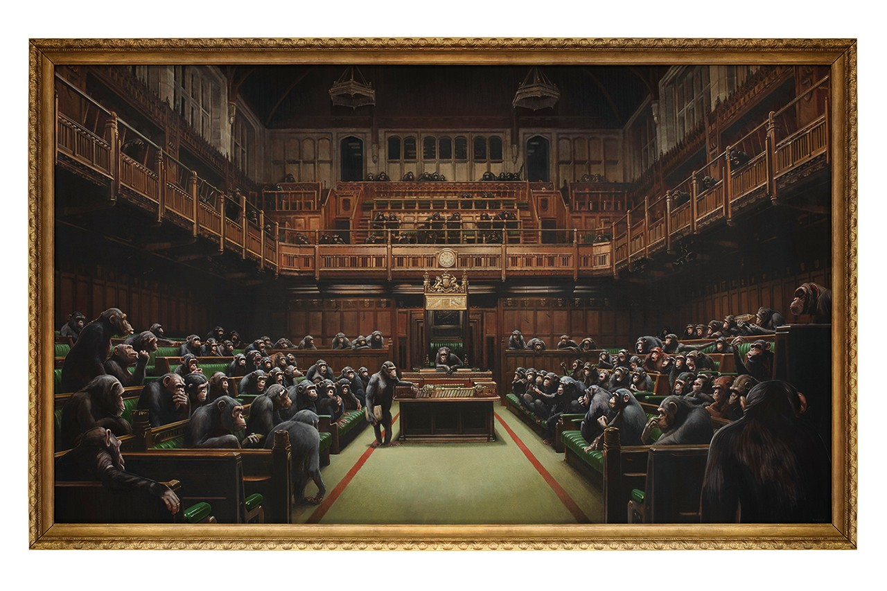Banksy's 'Devolved Parliament' is Artist's Largest Known Work on Canvas, Goes Up for Auction in October